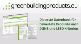 greenbuildingproducts.eu –<br />Die 1. Datenbank für bewertete Produkte nach DGNB und LEED Kriterien